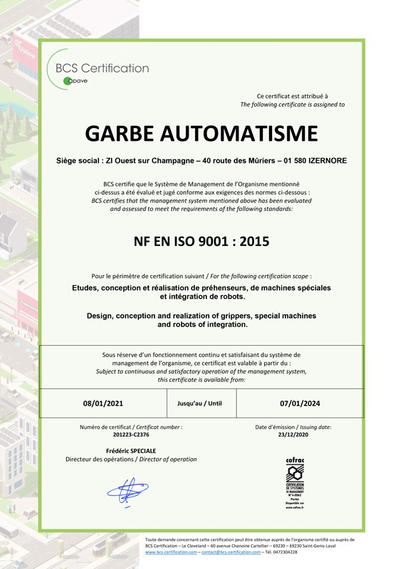 ISO 9001 Garbe Automatisme